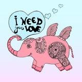 Räcka den utdragna gulliga roboten för den rosa elefanten med citationstecken i hjärta Arkivfoton