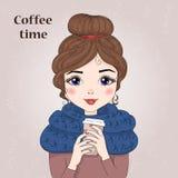 Räcka den utdragna härliga gulliga flickan med kaffe i hans händer också vektor för coreldrawillustration stock illustrationer