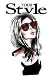 Räcka den utdragna härliga unga kvinnan med långt hår Stilfull elegant flicka fashion ståendekvinnan stock illustrationer