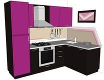 Räcka den utdragna illustrationen av den ljusa inre för lila- och brunthörnkök med byggt i den isolerade kylen Royaltyfria Bilder