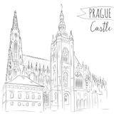 Räcka den utdragna illustrationen av den Prague slotten, tjeck Arkivbilder