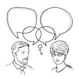 Räcka den utdragna illustrationen av dialogen mellan mannen och kvinnan Mänskligt begrepp för vektor för affärskommunikation Royaltyfria Bilder