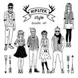 Räcka den utdragna illustrationen av skraj danade hipsterstecken lycklig manlig för kvinnlig Vektormonokrombilder stock illustrationer