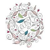 Räcka den utdragna illustrationen för den blom- designen med lockiga linjer och virvlar 1 arkivfoto