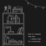 Räcka den utdragna illustrationen för bokhyllan i linjär stil med ett citationstecken om böcker Arkivfoton