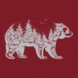 Räcka den utdragna illustrationen för dubbel exponering av björnkonturn Royaltyfri Foto