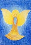 Räcka den utdragna illustrationen av den härliga guld- ängeln Royaltyfri Fotografi