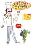 Räcka den utdragna kocken, pizza och pizzaingredienser Fotografering för Bildbyråer