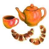 Räcka den utdragna kokkärlet, koppen och bullar på vit bakgrund royaltyfri illustrationer