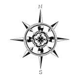 Räcka den utdragna kompassrosen, loppsemester eller undersök symbolet, riktning på översiktssymbol Royaltyfri Fotografi