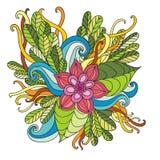 Räcka den utdragna konstnärliga etniska dekorativa mönstrade blom- ramen in Royaltyfria Foton
