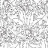 Räcka den utdragna konstnärliga etniska dekorativa mönstrade blom- ramen Arkivbilder