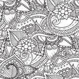 Räcka den utdragna konstnärliga etniska dekorativa mönstrade blom- ramen Arkivfoto