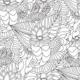 Räcka den utdragna konstnärliga etniska dekorativa mönstrade blom- ramen Royaltyfri Fotografi