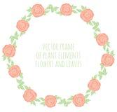 Räcka den utdragna kransen med blommor blad och filialer Royaltyfri Bild