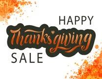 Räcka den utdragna lyckliga affischen för typografi för tacksägelseförsäljningsbokstäver stock illustrationer