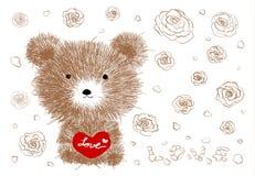 Räcka den utdragna nallebjörnen som rymmer röd hjärta och, steg blommor royaltyfri illustrationer