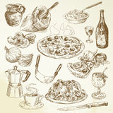 Räcka den utdragna pizzauppsättningen stock illustrationer