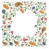 Räcka den utdragna rektangulära ramen med gulliga blommor och sidor Arkivfoto