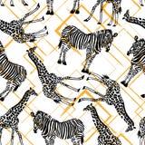 Räcka den utdragna sömlösa modellen med sebran, giraff på geometrisk bakgrund Arkivbild