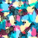 Räcka den utdragna sömlösa modellen med sebran och giraffet royaltyfri illustrationer