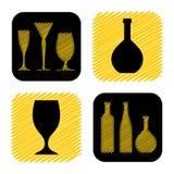 Räcka den utdragna samlingen för symbolen för vinexponeringsglas och flask Royaltyfri Bild