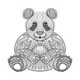 Räcka den utdragna stam- pandan, den djura totemet för vuxen färgläggningsida stock illustrationer
