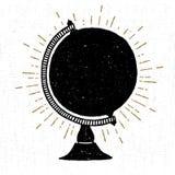 Räcka den utdragna texturerade symbolen med jordklotvektorillustrationen Arkivfoton