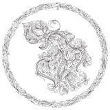 Räcka den utdragna tillbringaren med vatten i blom- prydnad vektor illustrationer