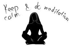 Räcka den utdragna typografiaffischen, svart vit färg Stillhet för motivationcitationsteckenuppehälle och gör yoga som isoleras K Royaltyfria Foton