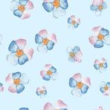 Räcka den utdragna vattenfärgen den blom- sömlösa modellen med pansies Royaltyfri Foto
