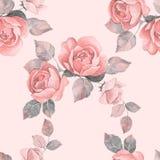 Räcka den utdragna vattenfärgen den blom- sömlösa modellen med rosor Royaltyfri Bild