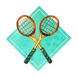 Räcka den utdragna vattenfärgillustrationen av korsade badmintonracket i grön rektangulär ram Royaltyfri Foto