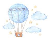 Räcka den utdragna vattenfärgillustrationen - ballong för varm luft i himlen vektor illustrationer