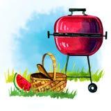 Räcka den utdragna vattenfärgillustrationen med gallret, korgen och vattenmelon Picknick, sommar som ut äter, och grillfest royaltyfri illustrationer