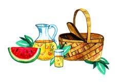 Räcka den utdragna vattenfärgillustrationen med korgen, lemonad och vattenmelon Picknick, sommar som ut äter, och grillfest Fotografering för Bildbyråer