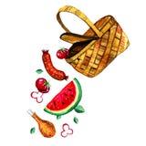 Räcka den utdragna vattenfärgillustrationen med korgen och mat för picknick, sommar som ut äter, och grillfesten Royaltyfri Foto