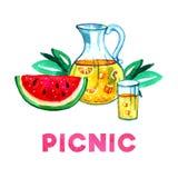 Räcka den utdragna vattenfärgillustrationen med lemonad, vattenmelon och sidor Picknick, sommar som ut äter, och grillfest Arkivbilder