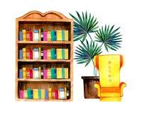 Räcka den utdragna vattenfärgillustrationen med den stiliserade inre - bokhylla, fåtölj och blomkruka vektor illustrationer