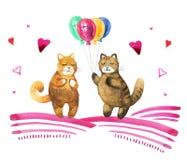 Räcka den utdragna vattenfärgillustrationen med två katter och baloons stock illustrationer