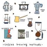 Räcka den utdragna vektorillustrationen av kaffe som bryggar metoder Royaltyfri Foto