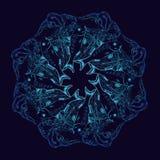 Räcka den utdragna vektorn den dekorativa mandalaen med fiskar och algen stock illustrationer