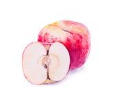 Räcka det målade vattenfärgäpplet, det röda äpplet, skivat äpple Arkivfoton