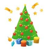 Räcka det utdragna enkla julträdet, stjärnor, gåvor, trädleksaker royaltyfria foton