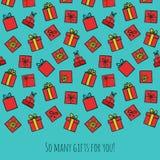 Räcka det utdragna färgrika födelsedagkortet eller intitationmallen Arkivbilder