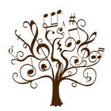 Räcka det utdragna trädet med lockigt ris med musikaliska anmärkningar och tecken stock illustrationer