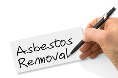 Räcka ` för borttagning för handstil`-asbest på ett tomt kort royaltyfria bilder