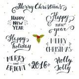 Räcka feriesamlingen för utdragen jul och för det nya året med bokstaven royaltyfri illustrationer