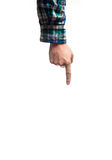 Räcka fingret som pekar uppåt på en vit bakgrund, i a royaltyfria foton