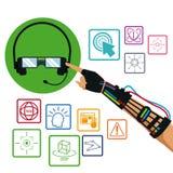 Räcka genom att använda band objekt för teknologi för handskehörlurar med mikrofonvr Royaltyfri Fotografi